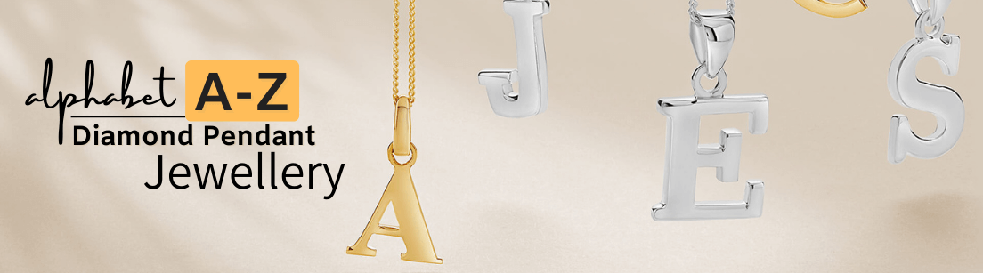Alphabet A-Z initial Diamond Pendant Jewellery