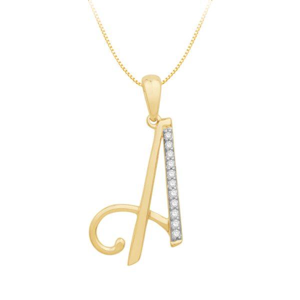 Beautiful alphabet A initial diamond pendant DEI1492