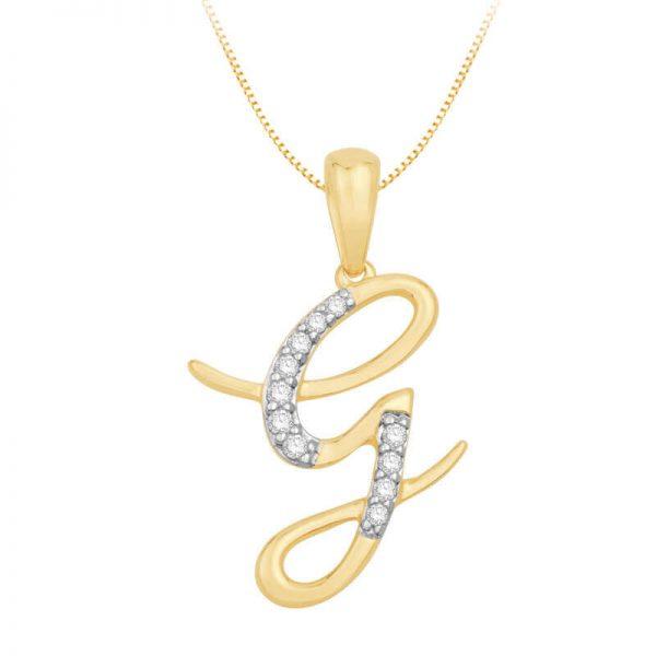 Beautiful Alphabet Initial G Diamond Pendant for Women DEI1493