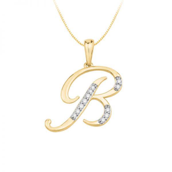 Beautiful Alphabet Initial B Diamond Pendant for Women DEI1570