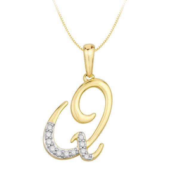 Beautiful Alphabet Initial Q Diamond Pendant for Women DEI1580