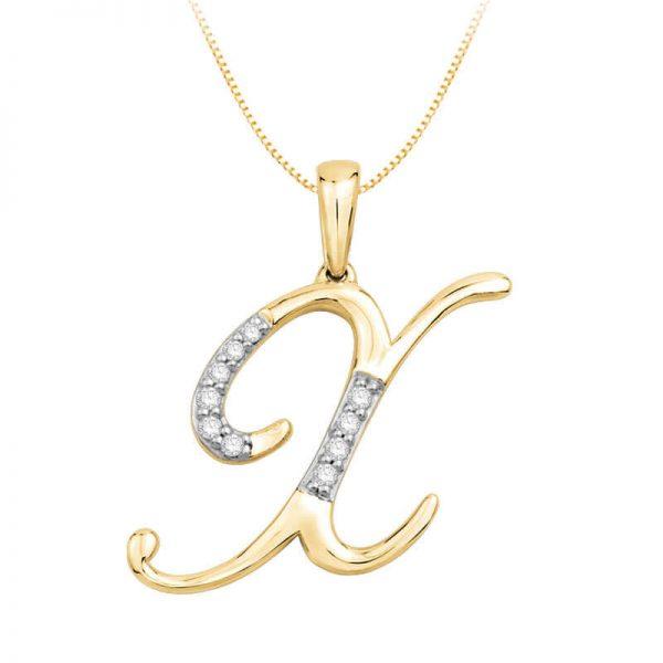 Beautiful Alphabet Initial X Diamond Pendant for Women DEI1586