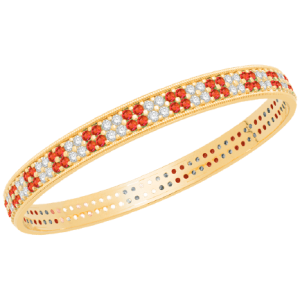 Gold Diamond Bangle with Ruby V0011RU