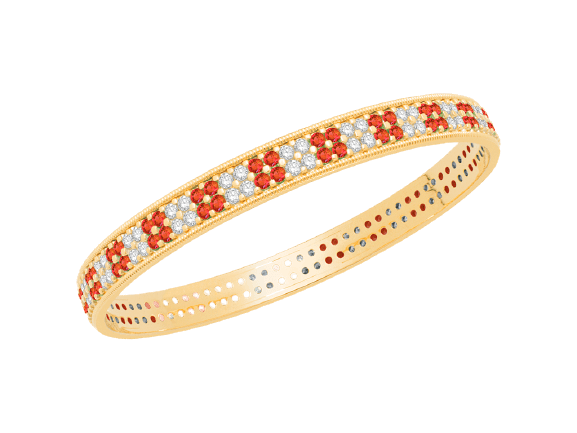 Gold Diamond Bangle with Ruby V0011RU