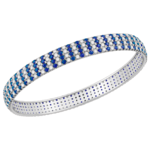 White Gold Diamond Bangle with Blue Sapphire V0800CB