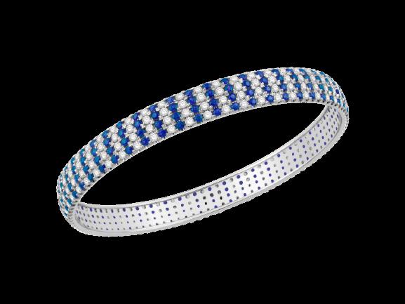 White Gold Diamond Bangle with Blue Sapphire V0800CB