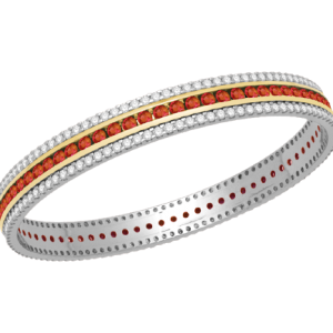 White Gold Diamond Bangle with Ruby V0938RU